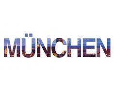Eurographics Art Words AW-DT44085, 3D Buchstaben MÜNCHEN, Wandtattoo, bunt, 60 x 25 x 1,4 cm