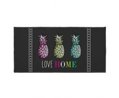 Déco Tapis Love Ananas Teppich Rechteck, Polyester, Mehrfarbig, 50 x 120 cm