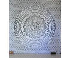 Traditioneller indischer Mandala-Hippie-Wandbehang, Baumwolle, Wandteppich im Boheme-Stil, Ombre, Tagesdecke, baumwolle, grau / silber, Queen(84x90 Inches)(215x230 Cm)