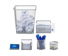 Relaxdays Schreibtisch Organizer 6er Set, Ablage Visitenkarten, Zettelbox, Briefablage, Stifteköcher, Mülleimer, silber