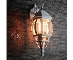 Rustikale Wandleuchte für Außen in weiß E27 230V bis 60 Watt Außenleuchte Außenlampe Wandlampe Beleuchtung Hof Garten Terrasse Licht