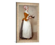 Gerahmtes Bild von Jean-Etienne LiotardDas Schokoladenmädchen, Kunstdruck im hochwertigen handgefertigten Bilder-Rahmen, 40x60 cm, Silber Raya