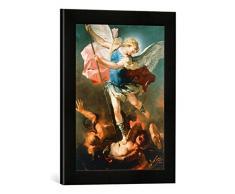 Gerahmtes Bild von Luca GiordanoDer Erzengel Michael, Kunstdruck im hochwertigen handgefertigten Bilder-Rahmen, 30x40 cm, Schwarz matt