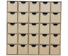 Décopatch HD018O kleine Regal mit 25 Schubladen aus Pappmaché, Adventregal, 5 x 25 x 25 cm, zum Verzieren Kartonbraun