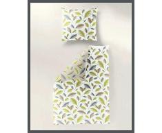 Bierbaum Fein-Biber Design 3019, Kiwi, Bettdecke 155/220 + Größe Kissen 080/080 Bettwäsche, Baumwolle, 155 x 220 cm, 2-Einheiten