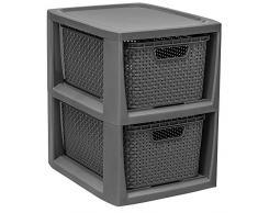 BranQ - Home essential Regal in Rattan Design, Kunststoff PP, Anthrazit, 29,5 x 24 x 32,8 cm