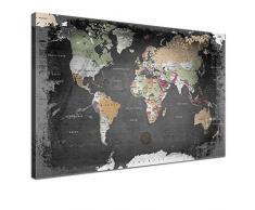 Lana KK - Weltkarte Graphit - edel Leinwand Bild Kunstdruck auf Keilrahmen, fertig gerahmt in 100 x 70 cm, einteilig