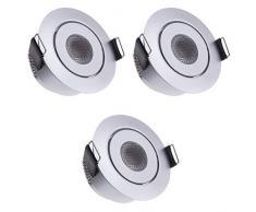 Sensati Kleine flache Miniatur LED Einbauleuchte flacher Downlight Spot Set zu 3 Stück, schwenkbar, dimmbar, 630 lm, inklusive Treiber, Gehäusefarbe silber, warmweiß T096 3 WW S