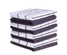 Amour Infini Frottee Küchentuch und Geschirrtücher, 100% Baumwolle, sehr saugfähig, maschinenwaschbar 12 x 12 Inches grau
