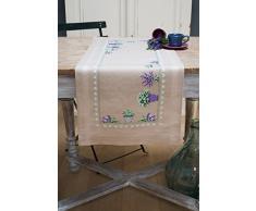 Vervaco Tischläufer Lavendel, Stickbild vorgezeichnet Bedruckte Läufer mit Webrand, Baumwolle, Mehrfarbig, 40 x 100 x 0,3 cm
