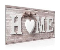 Bilder Home Herz Wandbild 100 x 40 cm Vlies - Leinwand Bild XXL Format Wandbilder Wohnzimmer Wohnung Deko Kunstdrucke Rot 1 Teilig - Made IN Germany - Fertig zum Aufhängen 504412b