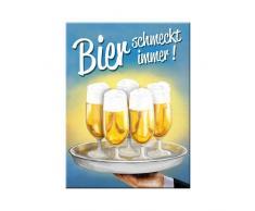 Nostalgic-Art 14268 Open Bar - Bier schmeckt immer Tablett, Magnet 8x6 cm
