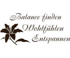 Graz Design 650020_40_080 Wandtattoo Spruch Balance mit der Blume für Badezimmer Wanddeko Fliesen 88x40cm Braun