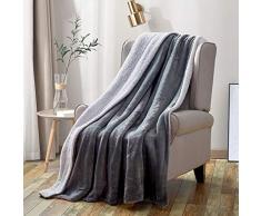 softan Sherpa Vlies Decke Nicht Verschütten Fuzzy Weich Bett Decken Doppelt Seite Werfen Decke passen Couch Sofa, Grau 130 * 150CM