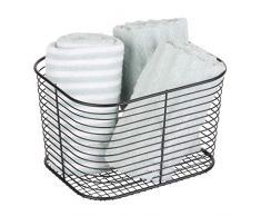 iDesign Vienna Aufbewahrungskorb, großer Badkorb aus Metall zur Kosmetikaufbewahrung oder für Handtücher, mattschwarz