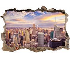 Pixxprint 3D_WD_S2480_92x62 New Yorker Skyline am Tag Wanddurchbruch 3D Wandtattoo, Vinyl, bunt, 92 x 62 x 0,02 cm