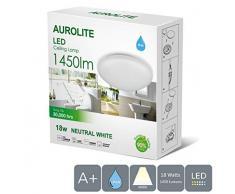 AUROLITE LED-Deckenleuchte, 1450 lm, (4000 K), IP44, ideal für Wohnzimmer, Schlafzimmer, Küche, Flur, Badezimmer, 18 W, natürliches Weiß