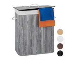 Relaxdays Wäschekorb Bambus mit Deckel, rechteckiger Wäschesammler, 2 Fächer, 95 l Volumen, faltbare Wäschebox, grau