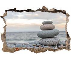 Pixxprint 3D_WD_S2511_92x62 kleiner Turm aus Steinen am Strand Wanddurchbruch 3D Wandtattoo, Vinyl, bunt, 92 x 62 x 0,02 cm