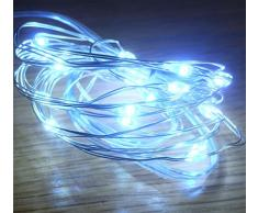Festive Productions Lichterkette mit 20 LEDs, Silberdraht, Blau weiß