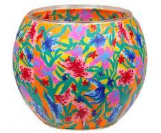 Himmlische Düfte Geschenkartikel CC229 Tischdekoration, Summer Flowers Windlicht Glas 11 x 11 x 9 cm, bunt