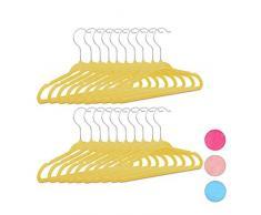 Relaxdays Kleiderbügel Kinder 20er Set, rutschfest, Kinderbügel Samtbezug, weiche Babybügel, 360° drehbare Haken, gelb