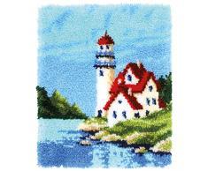 Vervaco PN-0168737 Leuchtturm Knüpfpackung Teppich, Baumwolle, mehrfarbig, ca. 43 x 54 cm / 17,2 x 21,6