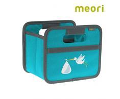 meori Faltbox Mini Blau/Storch 16,5x12,5x14cm stabil abwischbar Aufbewahrungsbox Organizer Geschenkbox mit Griffen Dekoration Kleinteile Sortieren Regal