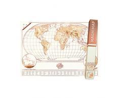 Magni-Map Magnettafel Weltkartenposter - Reisekartentafel - Welttrackerkarte Wandkunst beinhaltet 10 Magnete, Trockenlöschmarker und Reinigungstuch - Reisende Geschenkidee