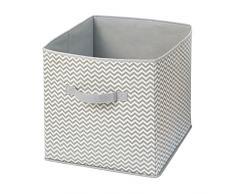 InterDesign Axis Ordnungsbox mit Griff für Spielzeug oder Kleidung, große Aufbewahrungsbox im Zickzack-Muster aus Polypropylen, taupe und natur