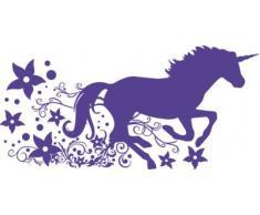 Graz Design 730136_57_043 Wandtattoo Deko fr Kinderzimmer Mdchen Wandaufkleber Fantasy Pegasus mit Blumen und Ranken 119x57cm Lavendel