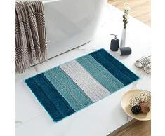 Lewondr Mikrofaser Badematte, Weich rutschfest Badteppich Fußmatte, elegant gestreift Hochflor Badvorleger für Badezimmer 50x80cm - Blau und Grün
