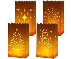 Aneco Pieces Weiße Papier-Leuchttüten Flammenfeste Laterne Kerzentüten 4 Motive mit Baum, Sternen, Schneemann für Weihnachten, Hochzeiten, Geburtstag Party Dekoration