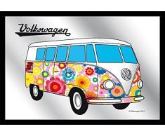 empireposter - Volkswagen - Hippy Van - Größe (cm), ca. 30x20 - Bedruckter Spiegel, NEU - Beschreibung: - Bedruckter Wandspiegel mit schwarzem Kunststoffrahmen in Holzoptik -
