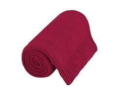 PiccoCasa Kuscheldecke Wohndecken 100% Baumwolle Sofadecke Wolldecke pflegeleicht gesund super warme Sofaüberwurf oder Wohnzimmer Decke Rot 180x200cm