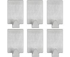 mumbi Handtuchhalter selbstklebend Handtuchhaken ohne bohren Klebehaken rechteckig Edelstahl 6er Set