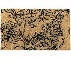 Entryways 948S Handgewebte Kokosfußmatte mit schwarzem Blumenmuster 40 x 60 cm