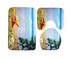 Moolecole Badematte, Strand, Seashells Starfish Sand Urlaub Sommer Weiche French Samt Badezimmer Teppich Teppich Anti-Rutsch 3 Stück Badematte Set Starfish Kokosnussbäume