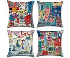 Gspirit 4 Stück Überwurf Kissenbezug Weihnachten Deko quadratisch Kissenbezug Couch Baumwolle Leinen für Wohnzimmer Sofa Bett mit unsichtbarem Reißverschluss 45,7 x 45,7 cm Urlaub