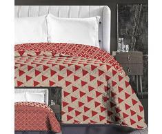 DecoKing 86698 Tagesdecke 220 x 240 cm beige cappuccino rot bordeaux Bettüberwurf zweiseitig pflegeleicht geometrisches Muster red burgundy Hypnosis Collection Triangles