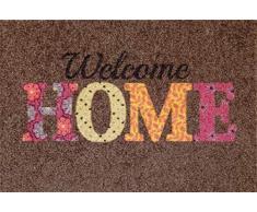 oKu-Tex Fußmatte | Schmutzfangmatte | Deco-Soft Entrance| Welcome Home | Aufdruck | für innen | Eingangsbereich / Haustür / Treppenhaus | rutschfest | 40x60 cm