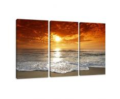 Visario Leinwandbilder 1038 Bild auf Leinwand Strand, 160 x 90 cm, 3 Teile