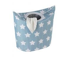 Wenko 62060100 Wäschesammler Stars - Wäschekorb, Fassungsvermögen 53 L, Kunststoff - Polyester, 57 x 54 x 33 cm, mehrfarbig