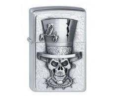 Zippo 200 Skull TOP HAT Emblem Feuerzeug, Messing