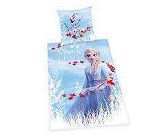 Bettwäsche- Set Disneys Die Eiskönigin 2, Kopfkissenbezug 80x80cm, Bettbezug 135x200cm, 100% Baumwolle, Renforcé, mit leichtläufigem Reißverschluss