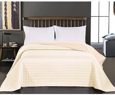 DecoKing 11959 Tagesdecke 240 x 260 cm ecru beige Bettüberwurf Kreisen zweiseitig pflegeleicht Salice