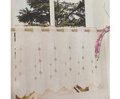 Gardinenbox Transparente Scheibengardine aus Voile, 40x120, Beige, luftiger Voile mit gesticktem Muster, 42002
