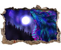 Pixxprint 3D_WD_S2769_92x62 eleganter Wolf mit hellem Mond Wanddurchbruch 3D Wandtattoo, Vinyl, bunt, 92 x 62 x 0,02 cm