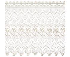 Plauener Spitze by Modespitze, Store Bistro Gardine Scheibengardine mit Stangendurchzug, hochwertige Stickerei, Höhe 60 cm, Breite 144 cm, Creme