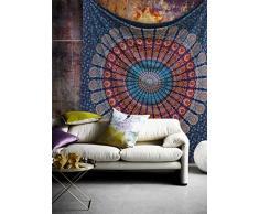 Beliebtes Hippie Indian Tapisserie Elephant Mandala Überwurf Wandbehang, Gypsy Tagesdecke von beliebten Kunsthandwerk, baumwolle, Neavy Blue, Queen (230x270)cms